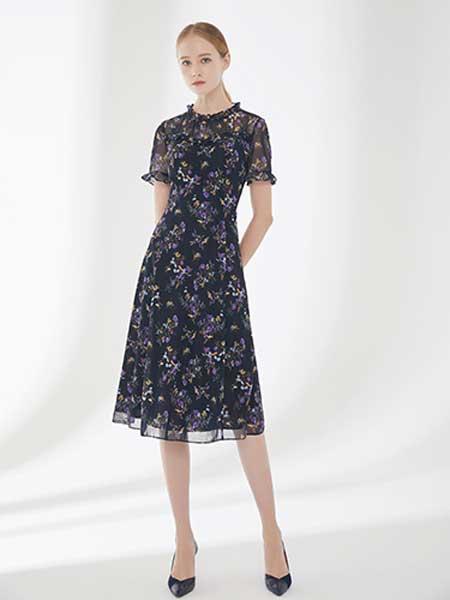 D'modes女装品牌2019春夏新款网纱荷叶袖中长款遮肚子减龄藏肉雪纺裙子碎花连衣裙