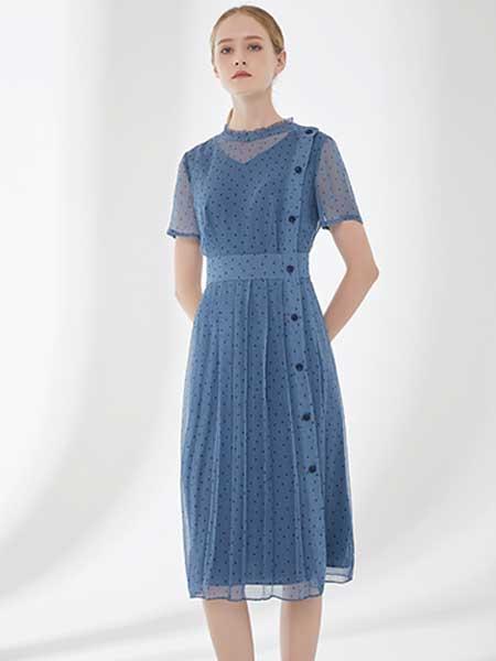 D'modes女装品牌2019春夏新款优雅气质波点网纱压褶修身显瘦圆领短袖连衣裙