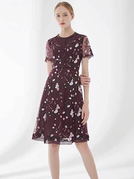 D'modes女装品牌2019春夏新款印花收腰中长款连衣裙