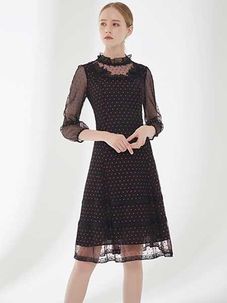 D'modes女装品牌2019春夏新款名媛气质黑色褶皱收腰修身显瘦过膝长裙