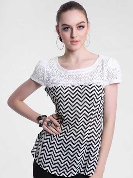 栢富麗fully100女装品牌2019春夏新款纯棉显瘦修身短袖黑白条纹蕾丝大码上衣