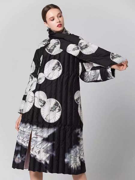 柒染吾衣女装品牌新款立领长款印花休闲大码外披式连衣裙