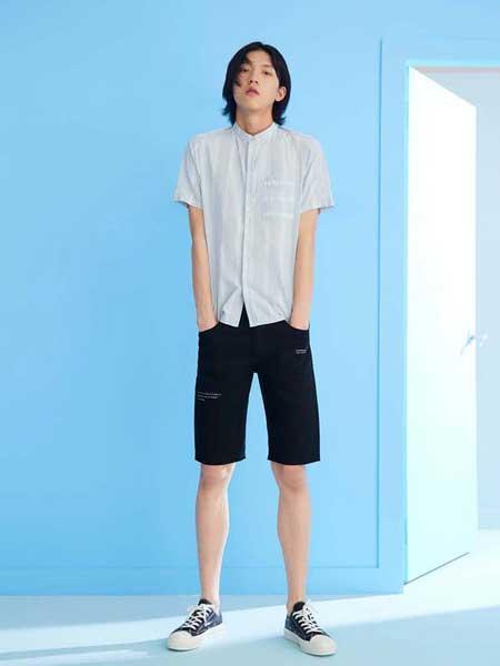 写生系男装品牌2019春夏新款短袖薄款韩版修身帅气纯棉潮流休闲衬衫