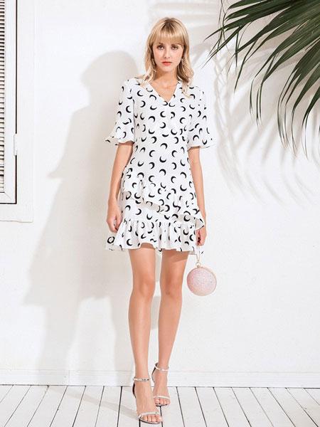Bally巴利女装品牌2019春夏时尚修身显瘦气质短袖连衣裙
