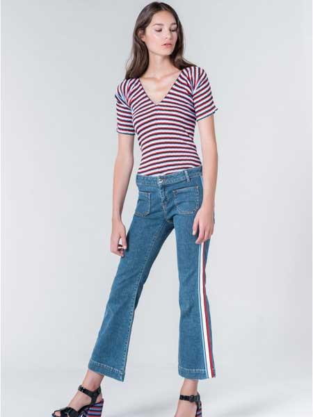 索尼亚·里基尔之索尼亚女装品牌2019春夏新款时尚侧面拼条纹牛仔喇叭裤