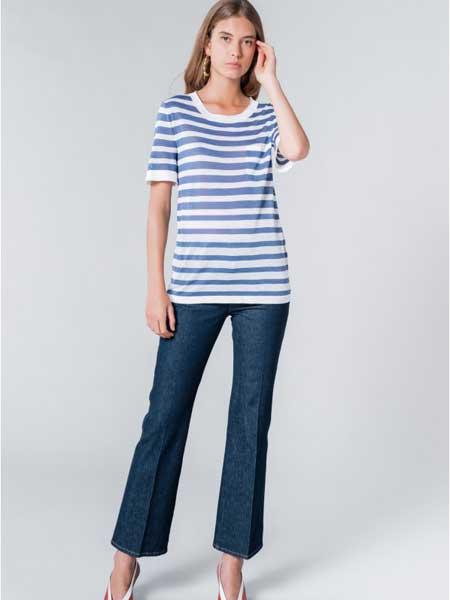 索尼亚·里基尔之索尼亚女装品牌2019春夏新款针织圆领短袖条纹宽松显瘦休闲T恤