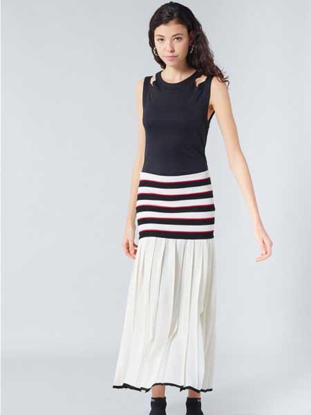 索尼亚·里基尔之索尼亚女装品牌2019春夏新款韩版撞色条纹拼接无袖长连衣裙
