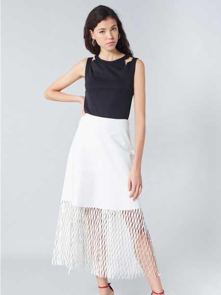 索尼亚·里基尔之索尼亚女装品牌2019春夏新款时尚透视网纱高腰拼接镂空百褶裙