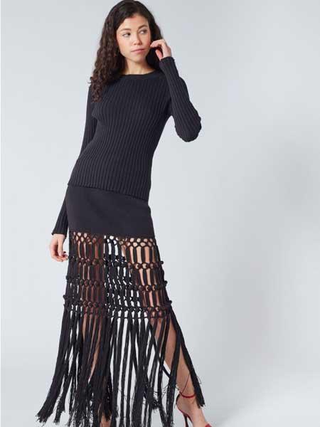 索尼亚·里基尔之索尼亚女装品牌2019春夏新款镂空蕾丝针织包臀流苏中长款连衣裙