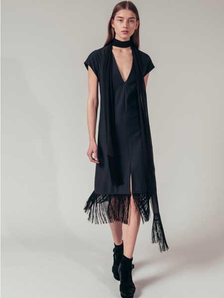 索尼亚·里基尔之索尼亚女装品牌2019春夏新款雪纺连衣裙韩版无袖收腰气质v领显瘦长裙
