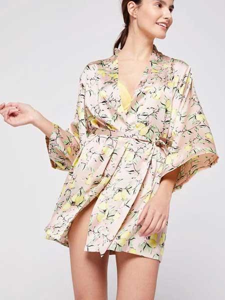 Etam艾格内衣品牌2019春夏新款甜美V领中长款连衣裙睡衣