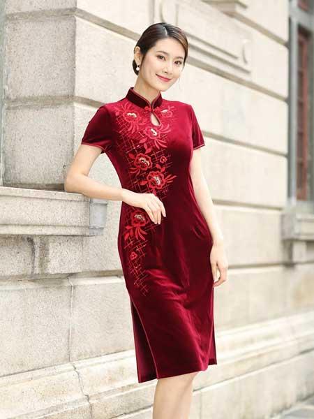 东方贵族女装品牌2019春夏新款短袖高贵刺绣烫钻中式酒红色喜庆婚礼妈妈装礼服宴会旗袍