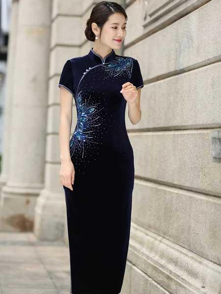 东方贵族女装品牌2019春夏新款旗袍高贵中老年妈妈装改良复古宴会礼服