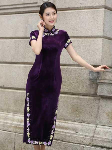 东方贵族女装品牌2019春夏新款旗袍刺绣礼服婚宴婚礼中式短袖丈母娘喜婆婆旗袍高贵典雅
