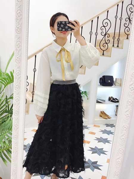 秐端女装品牌2019春夏新款百搭羽毛流苏雪纺半身裙中长款韩版裙子