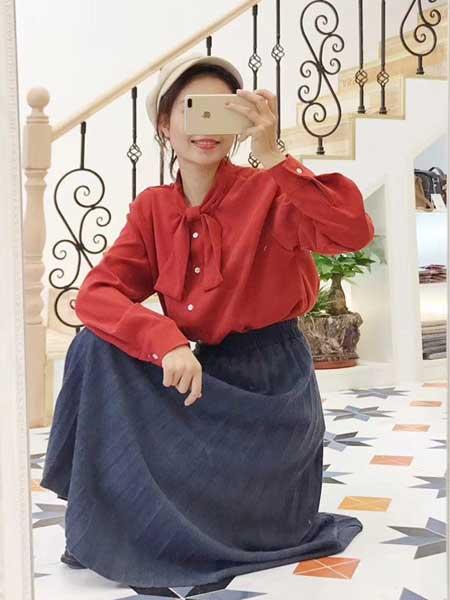 �n端女装品牌2019春夏新款棉麻松紧腰系带拼接中长款刺绣半身裙