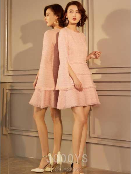 香港詩嘉麗(企業)有限公司女装品牌2019春夏新款名媛气质粉色修身喇叭袖连衣裙