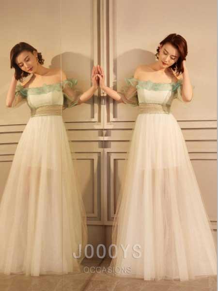 香港詩嘉麗(企業)有限公司女装品牌2019春夏新款白绿拼接一字肩纱裙礼服