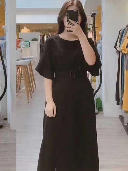 赫本家 - HEBENJIA女装品牌2019春夏新款小清新显瘦裙子中长款韩版百搭短袖连衣裙