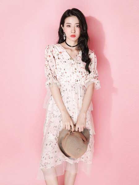 JOU SEO MOK女装品牌2019春夏新款碎花雪纺连衣裙超仙森系复古层层荷叶边蛋糕裙