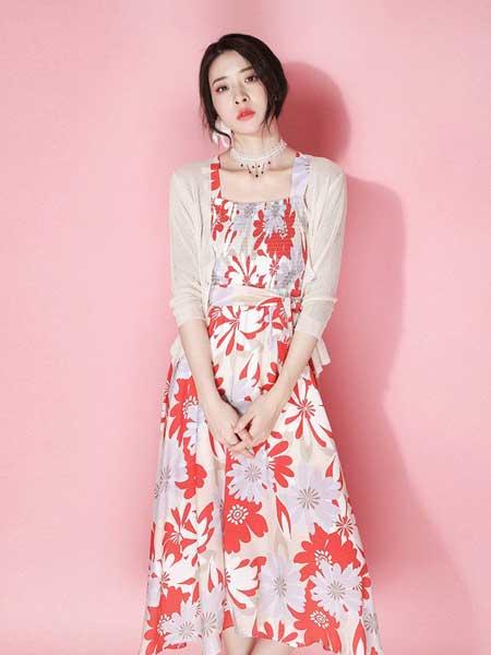 JOU SEO MOK女装品牌2019春夏新款撞色收腰方领吊带连衣裙女温柔风显瘦复古印花长裙子
