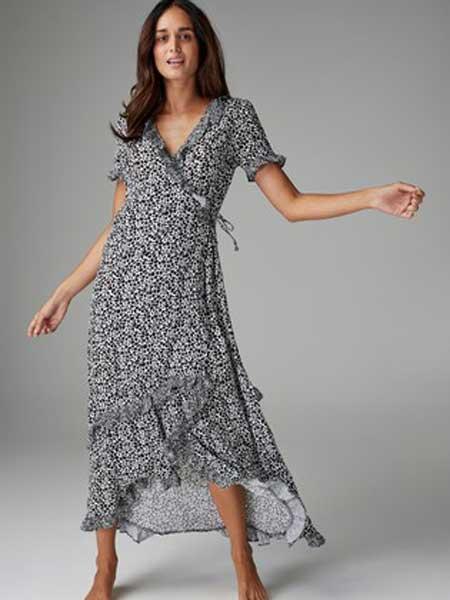 Next女装品牌2019春夏新款性感V领不规则高腰系带雪纺印花连衣裙