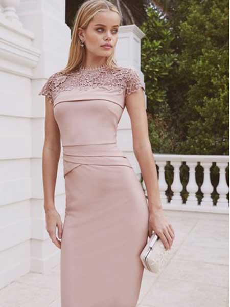 Next女装品牌2019春夏新款复古空气层蕾丝修身短袖连衣裙