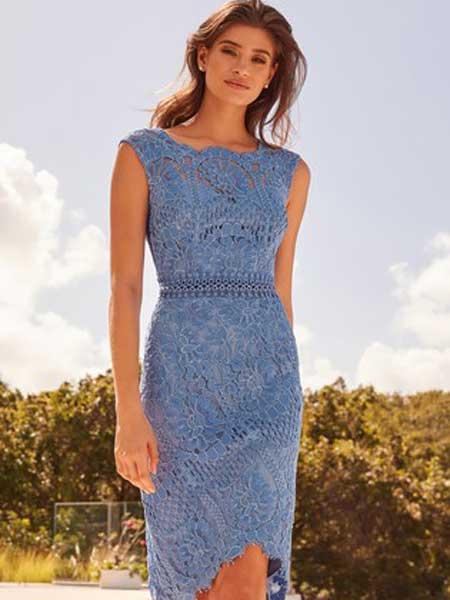 Next女装品牌2019春夏新款蕾丝修身显瘦高贵气质优雅名媛风小性感连衣裙