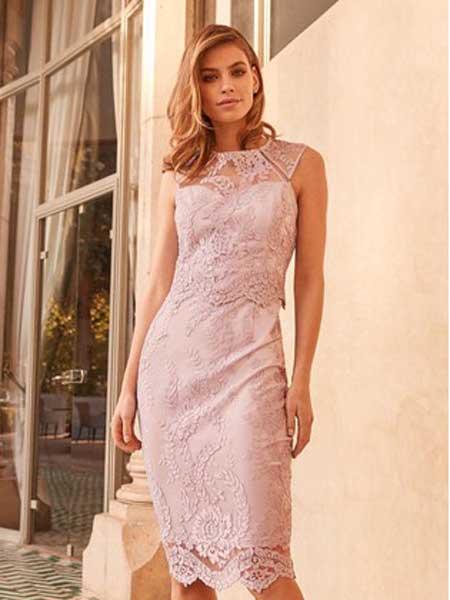Next女装品牌2019春夏新款蕾丝修身无袖纯色连衣裙