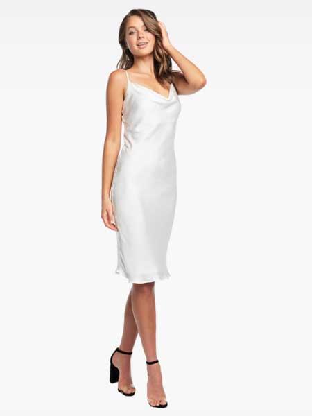 Bardot女装品牌2019春夏新款气质简约弹力修身性感V领抽褶细吊带中长连衣裙