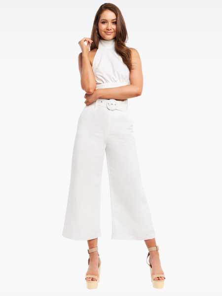 Bardot女装品牌2019春夏新款韩版裤子气质宽松休闲裤白色带腰带阔腿裤