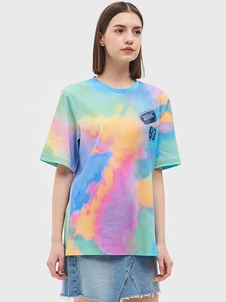 SJSJ女装品牌2019春夏新款韩版彩色扎染圆领宽松休闲短袖T恤