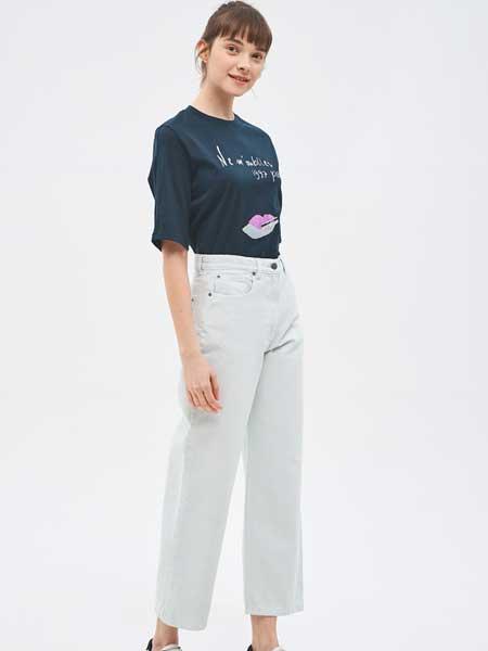 SJSJ女装品牌2019春夏新款高腰直筒裤显瘦宽松阔腿九分裤毛边牛仔裤潮