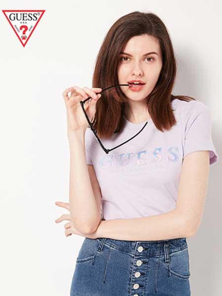 Guess女装品牌2019春夏新款字母短袖百搭T恤印花上衣