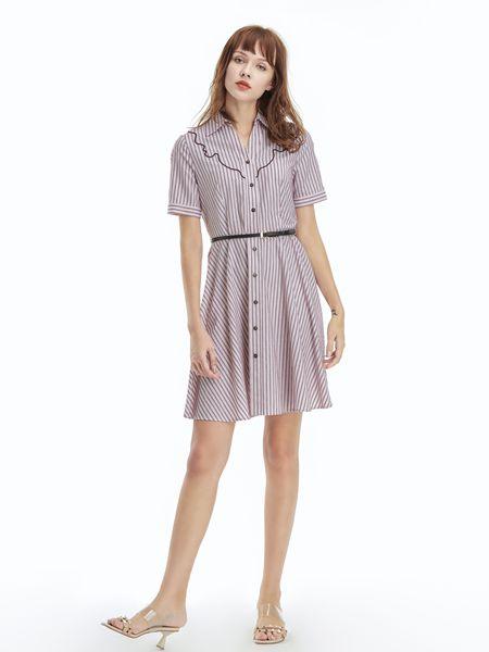凡恩女装品牌2019春夏新款短袖条纹简约舒适连衣裙