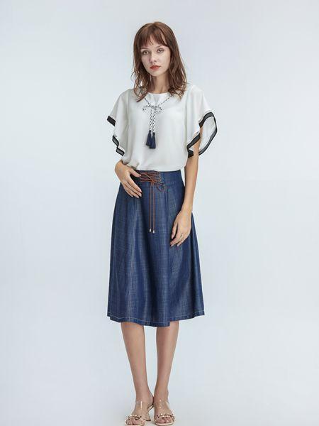 凡恩女装品牌2019春夏新款白色波浪宽松V领雪纺衫