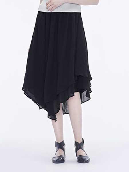 圣迪奥女装品牌2019春夏新款松紧不规则浪摆雪纺半身裙长裙