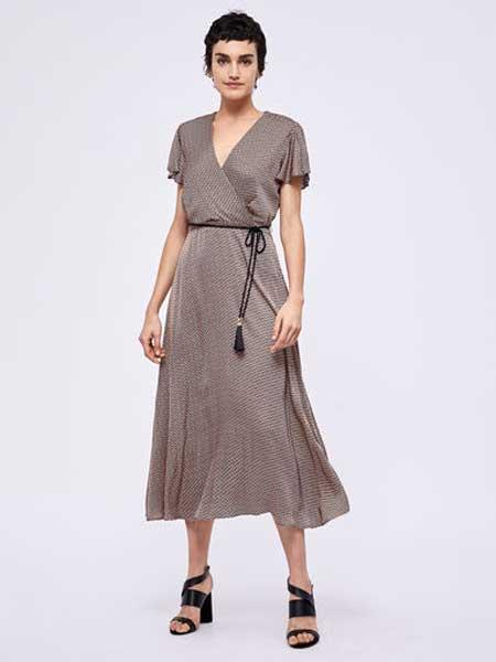 MARELLA女装品牌2019春夏新款v领修身收腰显瘦连衣裙