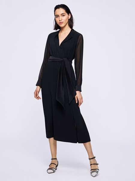 MARELLA女装品牌2019春夏新款V领时尚气质优雅气质连衣裙
