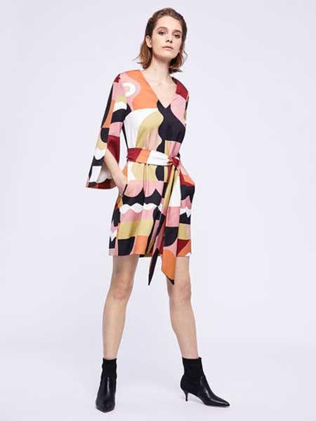 MARELLA女装品牌2019春夏新款时尚气质拼色连衣裙