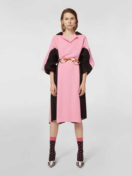 MARNI女装品牌2019春夏新款气质宽松显瘦粉黑色拼接连衣裙