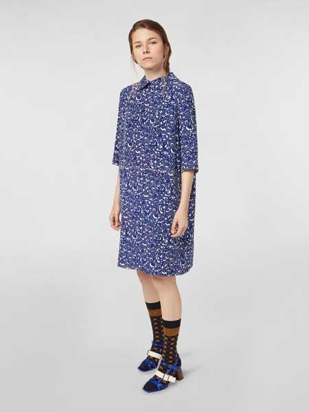 MARNI女装品牌2019春夏新款印花宽松直筒连衣裙