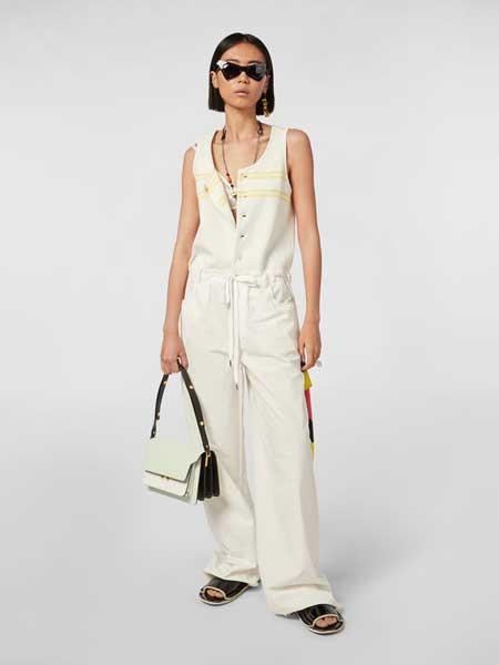 MARNI女装品牌2019春夏新款高端时尚连体衣纯色休闲收腰显瘦连体裤