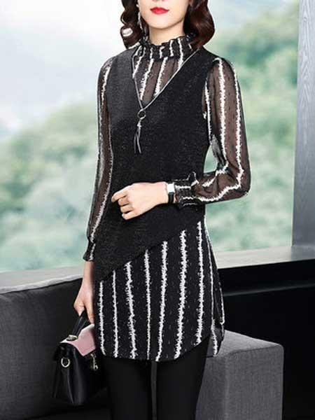 衣一豪美女装品牌2019春夏新款时尚两件套裙条纹连衣裙