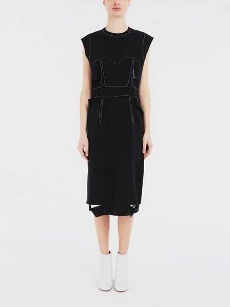 马吉拉时装屋女装品牌2019春夏新款无袖圆领时尚宽松显瘦连衣裙