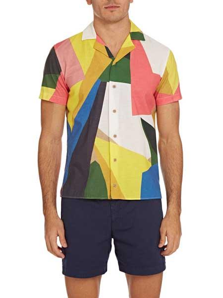 Orlebar Brown男装品牌2019春夏新款时尚休闲宽松短袖拼色衬衫