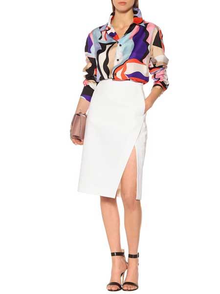 Emilio Pucci璞琪女装品牌2019春夏新款包臀裙时尚半身裙中长款高腰显瘦职业裙前开衩一步裙