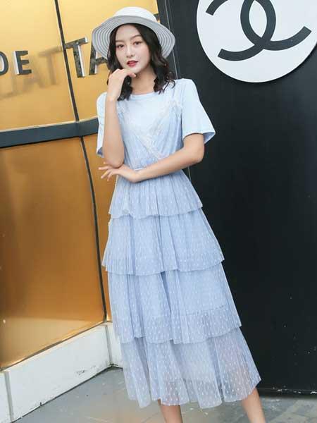 B P(Bella Party)女装品牌2019春夏新款小清新优雅气质修身显瘦中长款网纱蛋糕裙仙女裙