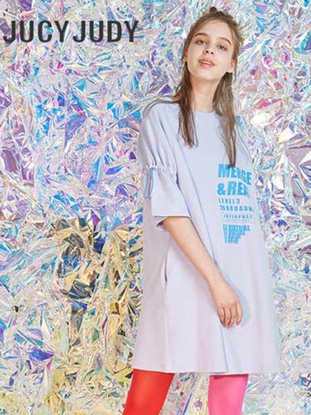 JUCY JUDY女装品牌2019春夏新款大码宽松显瘦休闲中长款短袖t恤裙
