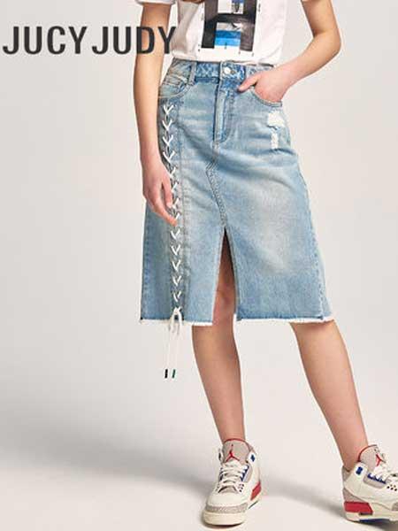 JUCY JUDY女装品牌2019春夏新款高腰开叉休闲牛仔半身裙